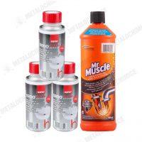 3x Sano Drain granule Mr Muscle gel desfundat tevi 1L 1