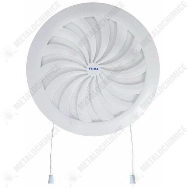 Pachet 1 + 1 - Ventilator pentru baie, 100mm + Grila aerisire, Rotunda, Reglabila