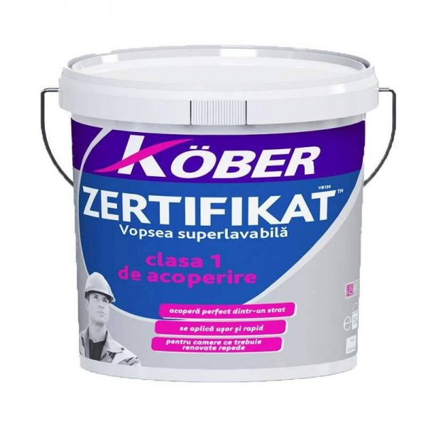 Kober Zertifikat Vopsea superlavabila de interior, alba, 15 L