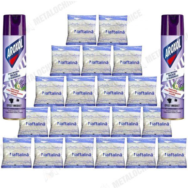 Naftalina fulgi 50g 20buc Aroxol spray molii si acarieni 250ml 2buc 1