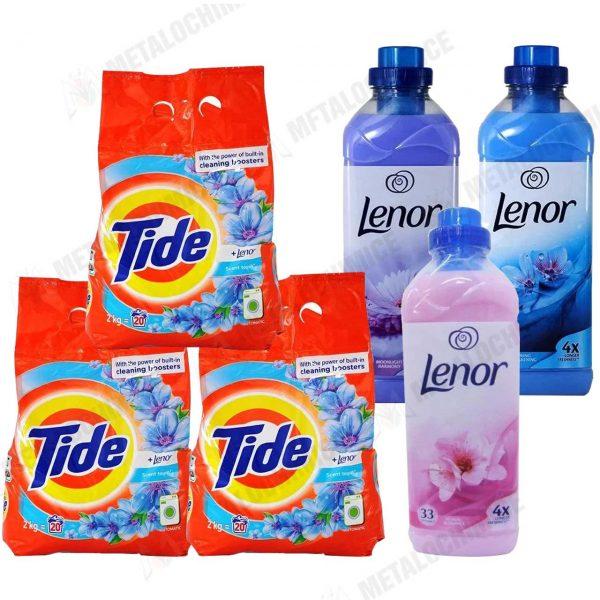 Tide Lenor Detergent automat 2kg 3buc Lenor Balsam 1L Spring Moonlight Floral 1