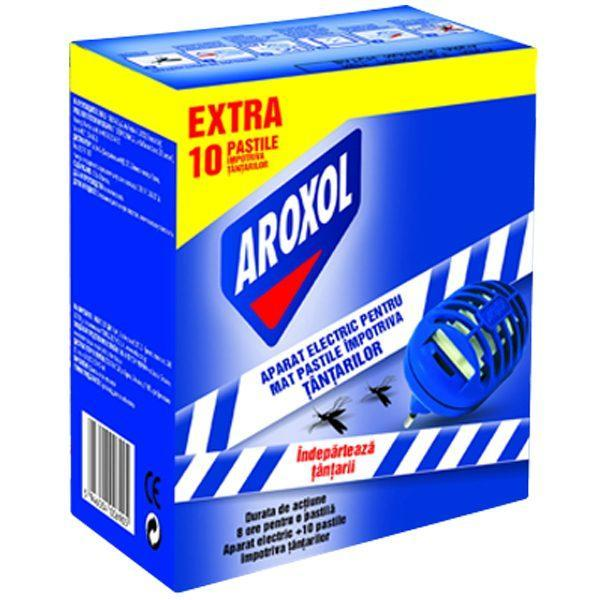Pachet 4 cutii - Aroxol aparat electric pentru pastile, impotriva Tantarilor/Mustelor, gratuit 10 pastile/cutie