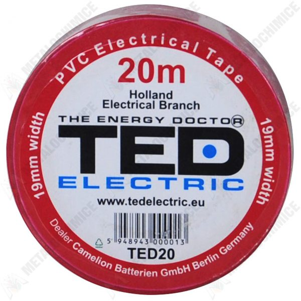 TED Electric, Banda electroizolatoare, PVC, Rosu, 19 mm x 20 m