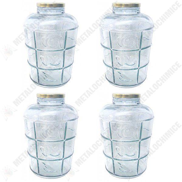 Borcan din sticla cu capac ermetic - BAX 4 bucati 8.5 litri