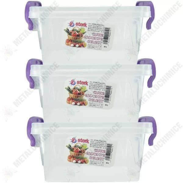 pachet 3 x cutii alimente din plastic cu capac 25 l litri 1