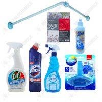 Solutii de curatat baia Cif, Domestos, Igienol, Pons si Bara de colt cu perdea din PVC
