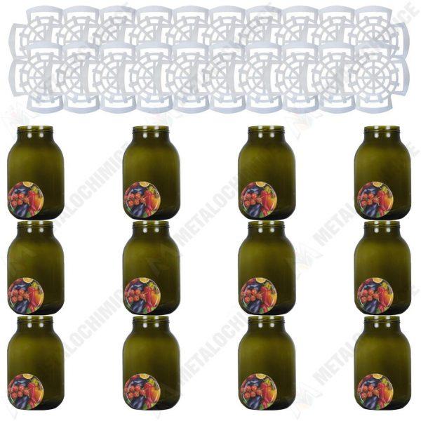 Pachet - 12 bucati, Borcan 3 litri cu capac, Borcane din sticla cu capace prin infiletare + 20 x Presa muraturi 1.75l - 2l - 3l - 5l