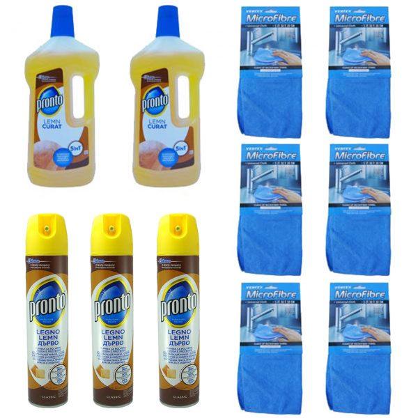 pachet pronto classic spray pentru curatat mobila 3 x 400ml 6 x laveta microfibre universala 30 x 30cm 2 pronto lemn 750ml 1