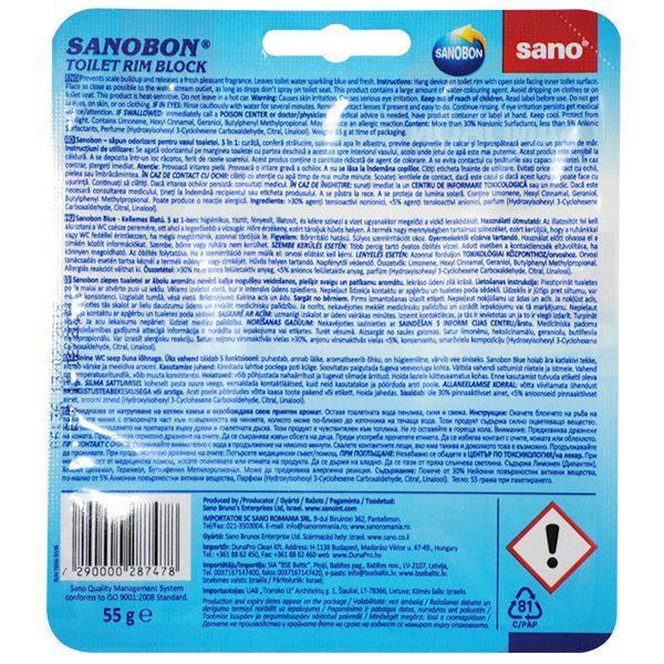 SanoBon Fresh Scent, Toilet Rim Block, Odorizant pentru agatat in vasul de wc 55g