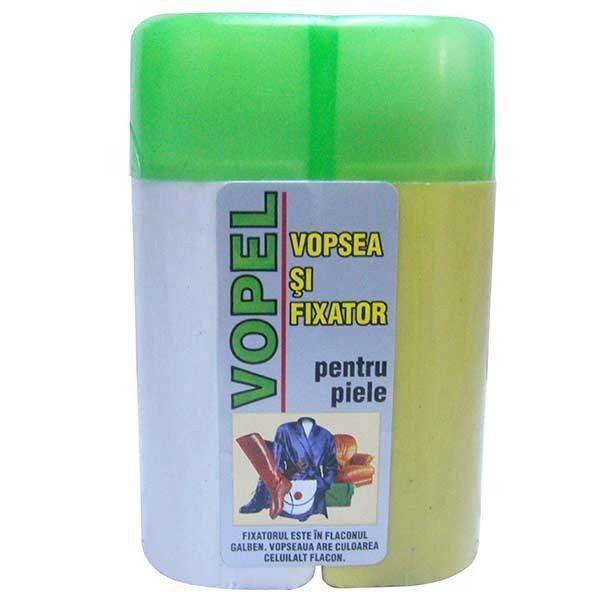 Pachet - 2 x Vopel Alb, Vopsea pentru piele si fixator + 4 x Acetona, Dizolvant, 50 ml + Dischete curatare 70 buc.