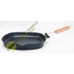 Tigaie grill cu coada flexibila, Gratar friptura, legume