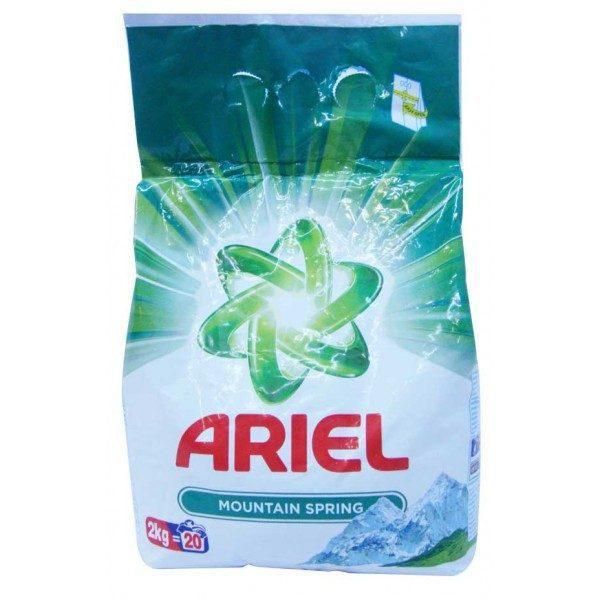 Pachet 2 bucati - Ariel Mountain Spring, Detergent automat, Pudra cu parfum proaspat, 2 x 2kg