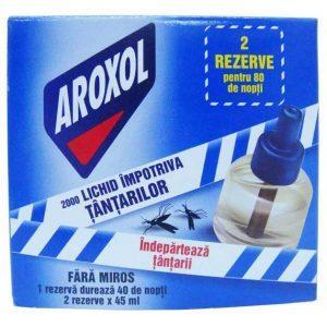 Aroxol doua rezerve cu lichid impotriva tantarilor 45ml