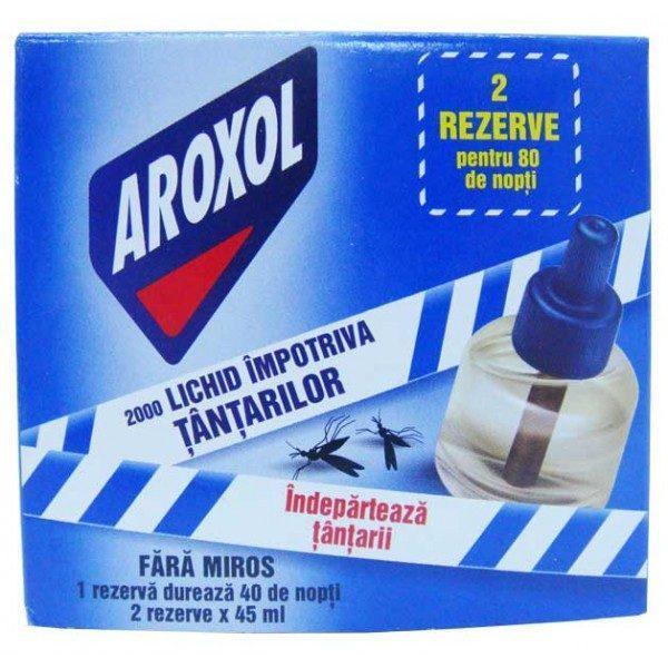 Aroxol 2000, Doua rezerve cu lichid impotriva tantarilor, 45ml