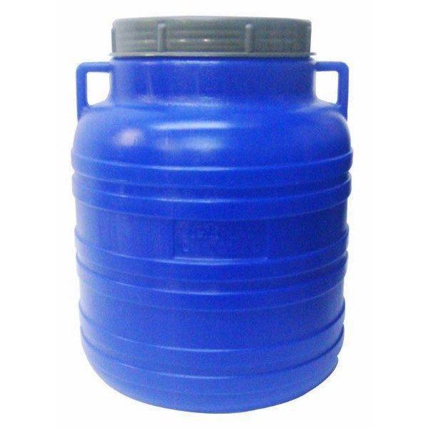 Pachet 2 bucati - Butoi 20L rotund din plastic alimentar, Bidon cu capac prin infiletare si manere + 2 x Presa rotunda pentru butoi 28cm + Teava pentru suflat / pitrocit