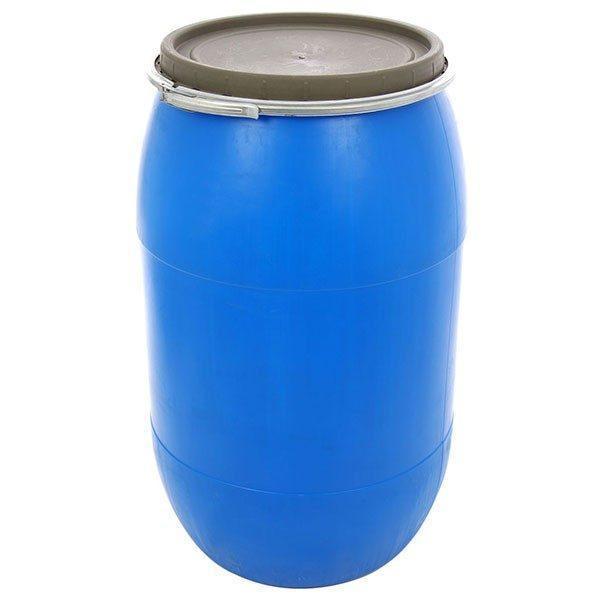 Pachet - Butoi 220L din plastic alimentar, cu cerc metalic, Bidon cu capac + Presa rotunda pentru butoi 45cm + Teava pentru suflat / pitrocit