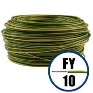 Conductor FY 10 - 100 M - GALBEN / VERDE - Cablu curent cupru plin - H07V-U