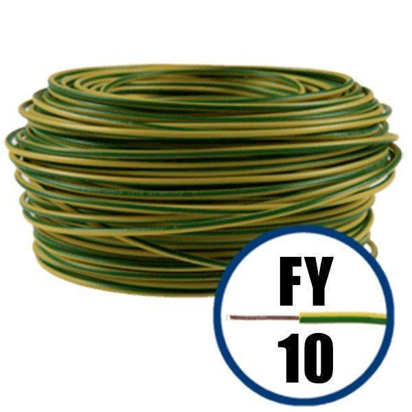 Conductor FY 10 - 100 M - GALBEN / VERDE - Cablu curent cupru plin - H07V-U 1