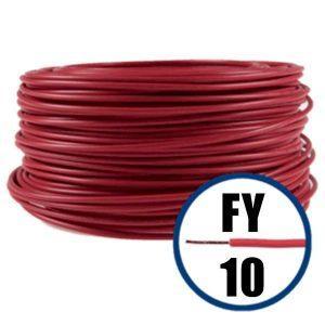 Conductor FY 10 - 100 M - ROSU - Cablu curent cupru plin - H07V-U