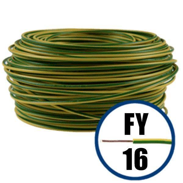 Conductor FY 16 - 100 M - GALBEN / VERDE - Cablu curent cupru plin - H07V-U 1