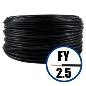 Conductor FY 2.5 - 100 M - NEGRU - Cablu curent cupru plin - H07V-U