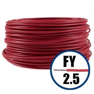Conductor FY 2.5 - 100 M - ROSU - Cablu curent cupru plin - H07V-U