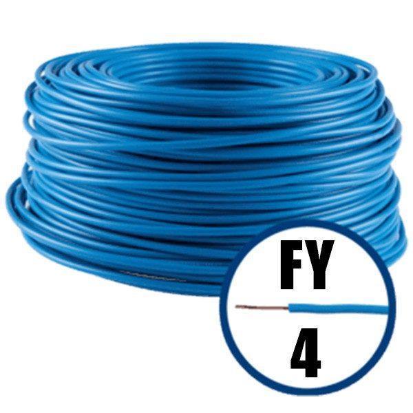 cablu electric conductor fy 4 albastru 100m cupru plin