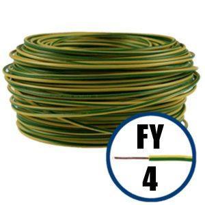 Conductor FY 4 - 100 M - GALBEN / VERDE - Cablu curent cupru plin - H07V-U