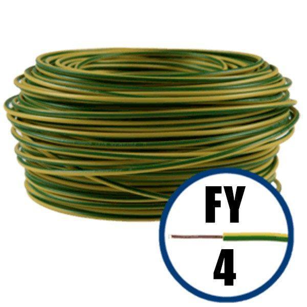 Conductor FY 4 - 100 M - GALBEN / VERDE - Cablu curent cupru plin - H07V-U 1