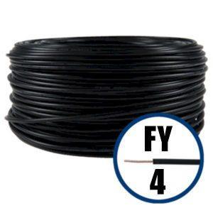 Conductor FY 4 - 100 M - NEGRU - Cablu curent cupru plin - H07V-U