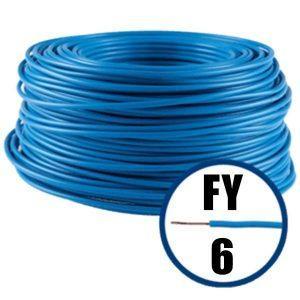 Conductor FY 6 - 100 M - ALBASTRU - Cablu curent cupru plin - H07V-U