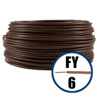 Cablu / Conductor electric FY 6 mmp, H07V-U, maro, 100 m  din categoria Conductori electrici