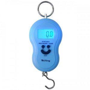 Cantar electronic, albastru, portabil, baterii, 40Kg