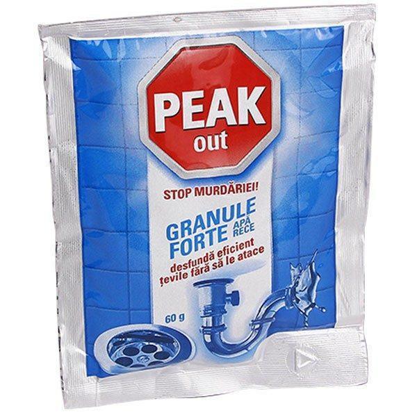 Pachet 12 bucati - Peak Out, Granule pentru desfundat tevile cu apa rece fara sa le atace, 12 x 60g