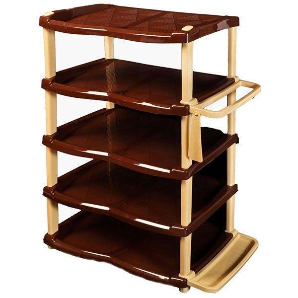 Raft pantofi lux 5 etaje, crem-maro  din categoria Diverse mobilier