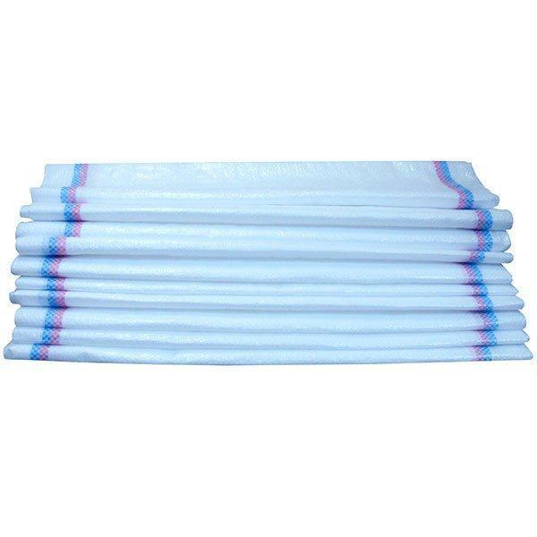 Pachet 100 bucati - Saci rafie 55 x 100cm, Sac rezistent din rafie, Alb cu dungi albastre