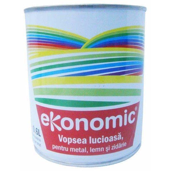 Pachet 6 bucati - Vopsea neagra, Lucioasa, 0.6L, Ekonomic, Pentru metal, Lemn si zidarie