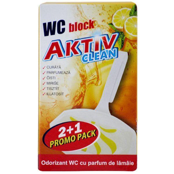 Pachet 10 cutii - Aktiv Clean, Odorizant WC block cu parfum de Lamaie, Pentru agatat in vasul de toaleta, 30buc, 3x 30g/cutie