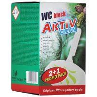 aktiv clean odorizant wc block cu parfum de pin pentru agatat in vasul de toaleta 3x 30g cutie 2