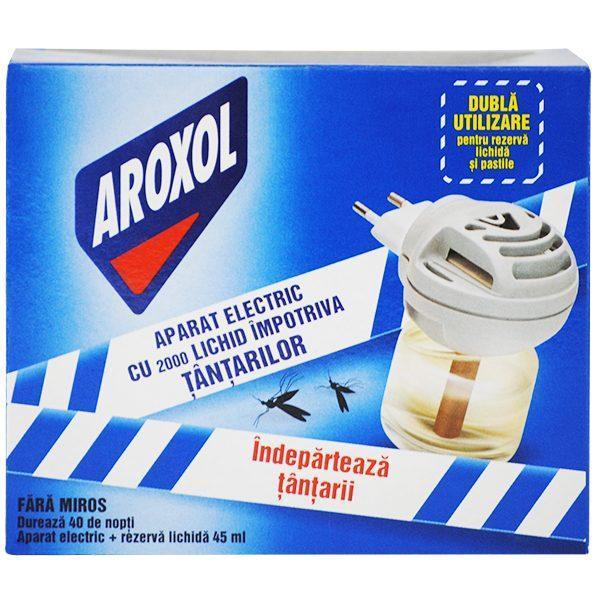 Pachet 4 cutii - Aroxol aparat electric pentru rezerva lichida si pastile, Fara miros, Impotriva Tantarilor, 40 Nopti, 4 Aparate + 4 Rezerve de 45ml