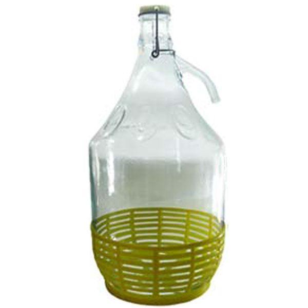 Pachet 6 bucati - Damigeana 5L din sticla, In cos din plastic, Dop cu sarma, Inchidere ermetica