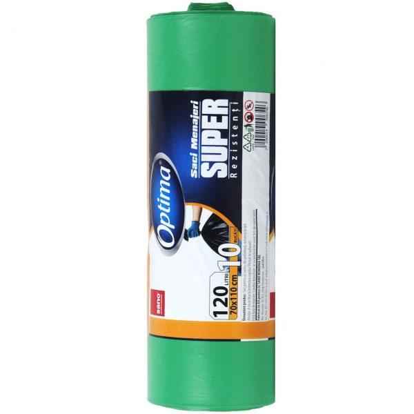 Sano, Saci menajeri verzi 120L pentru pubela, Sac plastic pentru menaj, gunoi, frunze, deseuri, 70 x 110cm