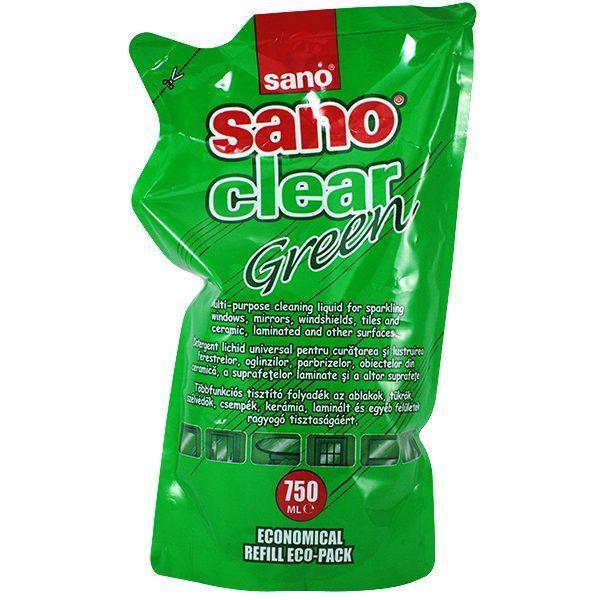 Pachet 10 bucati - Sano Clear Green rezerva, Solutie pentru curatat geamuri, 10x 750ml