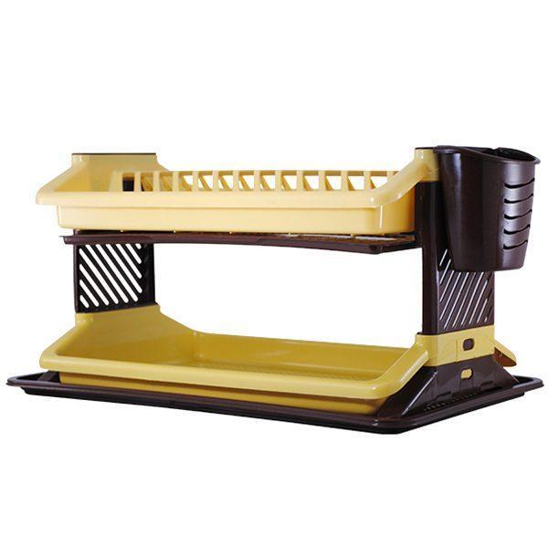 Scurgator de vase si tacamuri, Suport etajat pentru vesela, Picurator cu doua etaje, Uscator, Crem-Maro