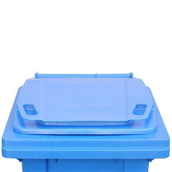 tomberon cu roti pentru gunoi reciclare selectiva pubela albastra 120l 2