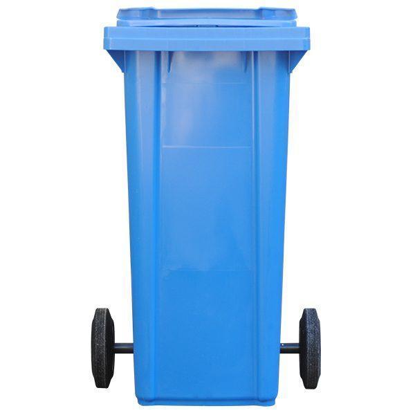 tomberon cu roti pentru gunoi reciclare selectiva pubela albastra 120l