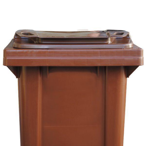 tomberon cu roti pentru gunoi reciclare selectiva pubela maro 120l 2