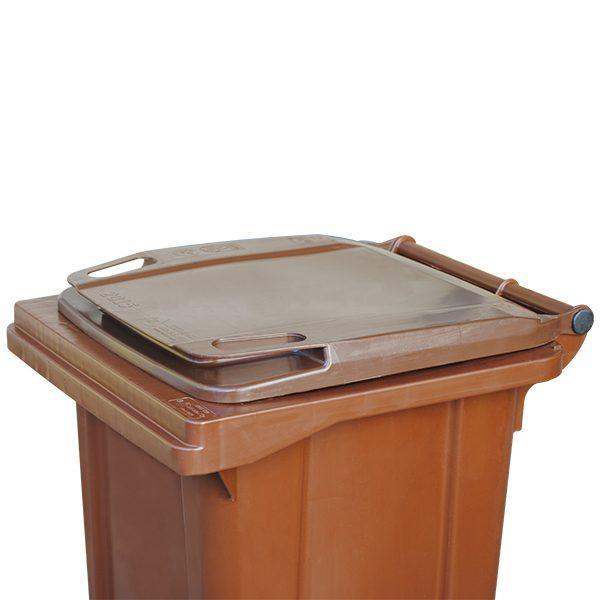 tomberon cu roti pentru gunoi reciclare selectiva pubela maro 120l 3