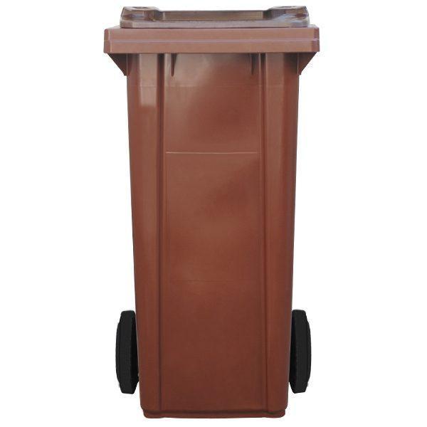 tomberon cu roti pentru gunoi reciclare selectiva pubela maro 120l