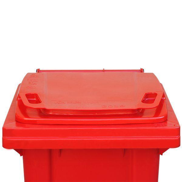 tomberon cu roti pentru gunoi reciclare selectiva pubela rosie 120l 2